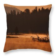 Sunrise Over The Yellowstone River Throw Pillow