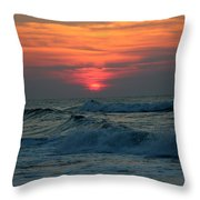 Sunrise Over Waves Throw Pillow