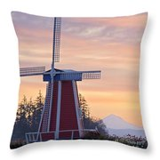 Sunrise Over Wooden Shoe Tulip Farm And Throw Pillow