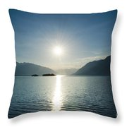 Sunrise Reflected Over An Alpine Lake Throw Pillow