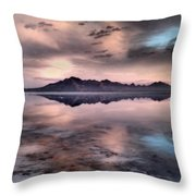 Sunrise Reflection At Salt Flats Throw Pillow