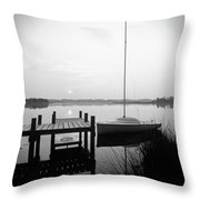 Sunrise Sail Boat Throw Pillow by Mike McGlothlen