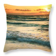 Sunrise Seascape Tulum Mexico Throw Pillow