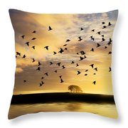 Birds Awaken At Sunrise Throw Pillow
