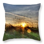 Sunrise Through Grass Throw Pillow
