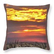 Sunrise Through The Grass Throw Pillow