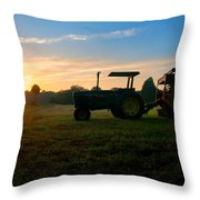 Sunrise Tractor Throw Pillow