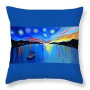 Sunrise At The Lake - Van Gogh Style Throw Pillow