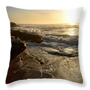 Sunrise Waves On The Rocks By Kaye Menner Throw Pillow