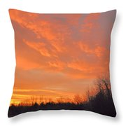 Sunrise With Horses Throw Pillow