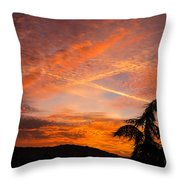 Sunrise With Orange And Red Clouds In The Sky Throw Pillow