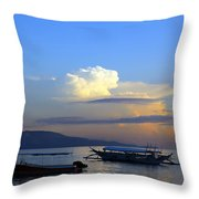 Sunrise With Outrigger Boats Throw Pillow