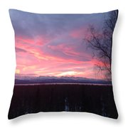 Sunrise With Tree Throw Pillow