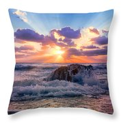 Sun's Rays By The Old Coral. Throw Pillow