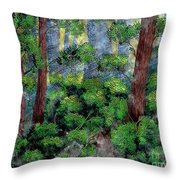 Suns Rays - Forest - Steel Engraving Throw Pillow