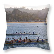 Sunset Activity At The Harbor Throw Pillow