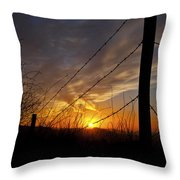 Sunset Along The Fence Yellow Red Orange Fine Art Photography Print  Throw Pillow