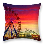 Sunset And A Sliver Moon Throw Pillow