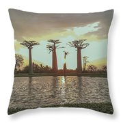 Sunset And Baobab Trees Throw Pillow