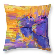 Sunset And Boats Throw Pillow