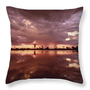 Sunset And Clouds Over Waterhole Throw Pillow