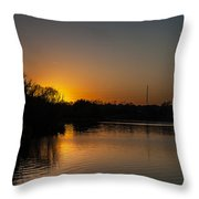 Sunset And Contrails Throw Pillow