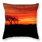 Sunset And Deer Silhouette Throw Pillow