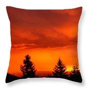 Sunset And Fir Trees Throw Pillow