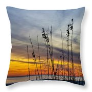Sunset And Grasses Throw Pillow