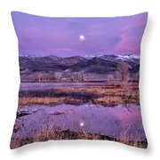 Sunset And Moonrise At Farmers Pond Throw Pillow by Cat Connor