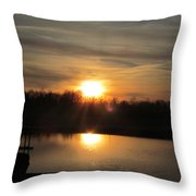 Sunset And Pond Reflection Throw Pillow