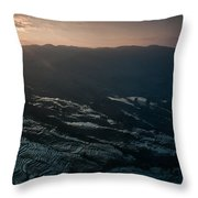 Sunset And Rice Terrace Throw Pillow