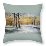 Sunset And Snow Sold Throw Pillow