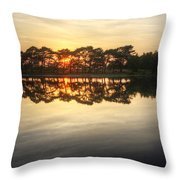 Sunset And Trees On Water Throw Pillow