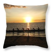 Sunset At Anaeho'omalu Bay Throw Pillow