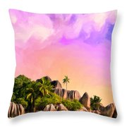 Sunset At Anse Source Argent Seychelles Throw Pillow