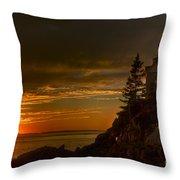 Sunset At Bass Harbor Lighthouse Throw Pillow