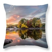 Sunset At Cambridge Reservoir Throw Pillow