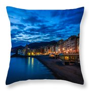Sunset At Camogli In Liguria - Italy Throw Pillow