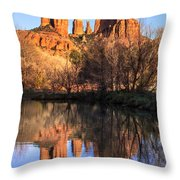 Sunset At Cathedral Rock In Sedona Az Throw Pillow by Teri Virbickis
