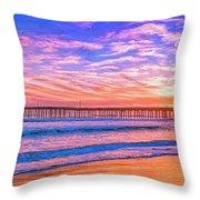 Sunset At Cayucos Pier Throw Pillow
