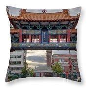 Sunset At Chinatown Gate In Seattle Washington Throw Pillow
