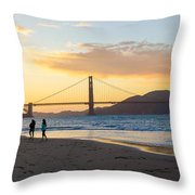 Sunset At Crissy Field With Golden Gate Bridge San Francisco Ca 5 Throw Pillow