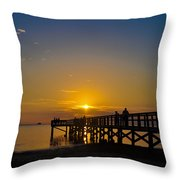 Sunset At Crystal Beach Pier Throw Pillow