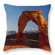 Sunset At Delicate Arch Throw Pillow