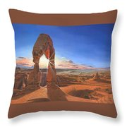 Sunset At Delicate Arch Utah Throw Pillow