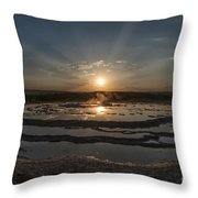 Sunset At Great Fountain Geyser - Yellowstone Throw Pillow