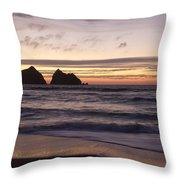 Sunset At Holywell Bay Throw Pillow