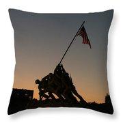 Sunset At Iwo Jima  Throw Pillow