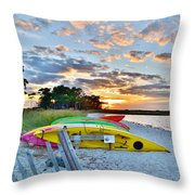 Sunset At James Farm Ocean View Delaware Throw Pillow